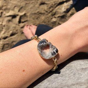Druzy Agate Bracelet Labradorite Beads